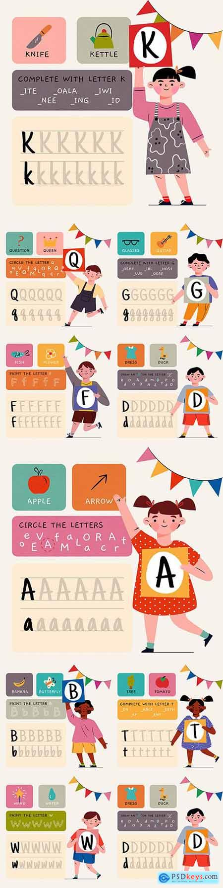 Alphabet letter word meaning and spelling illustrations