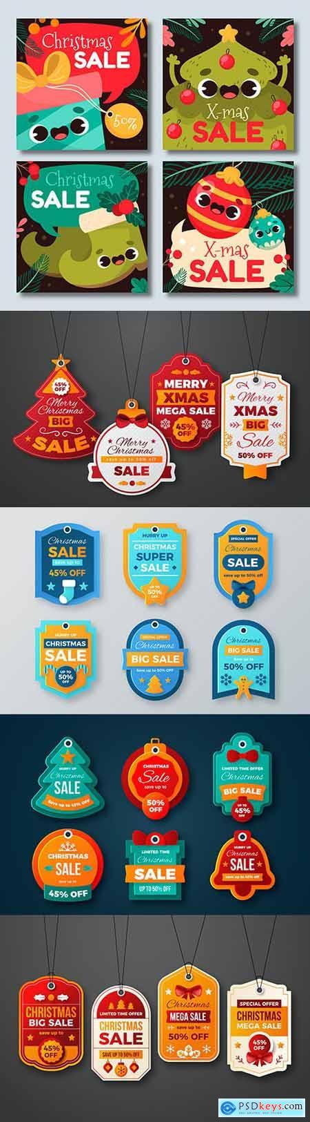Christmas label sale emblem in flat design