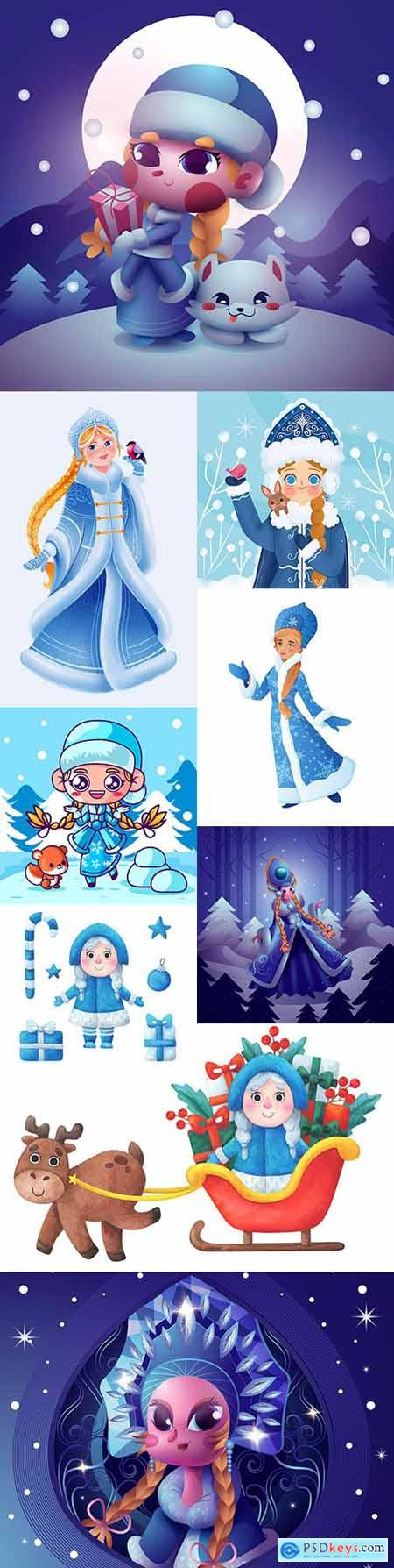 Cute fabulous character snow maiden Christmas illustrations