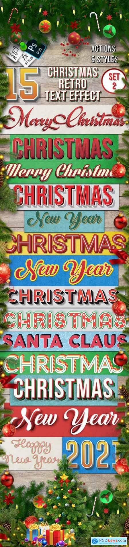 Christmas Retro Text Effect Set 2 - 15 Different Styles 29417802