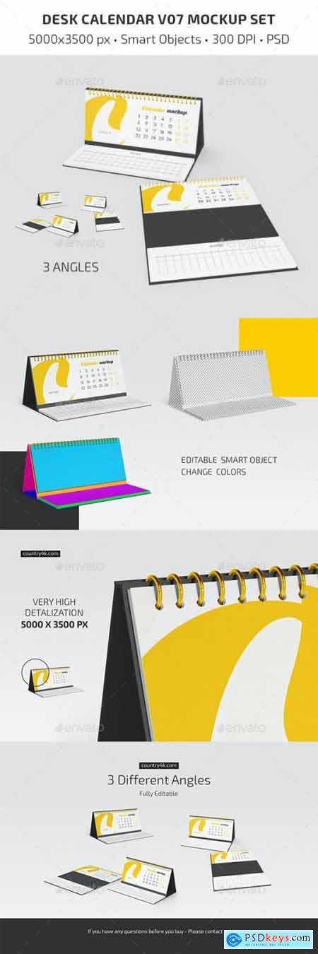 Desk Calendar v07 Mockup Set 29557825