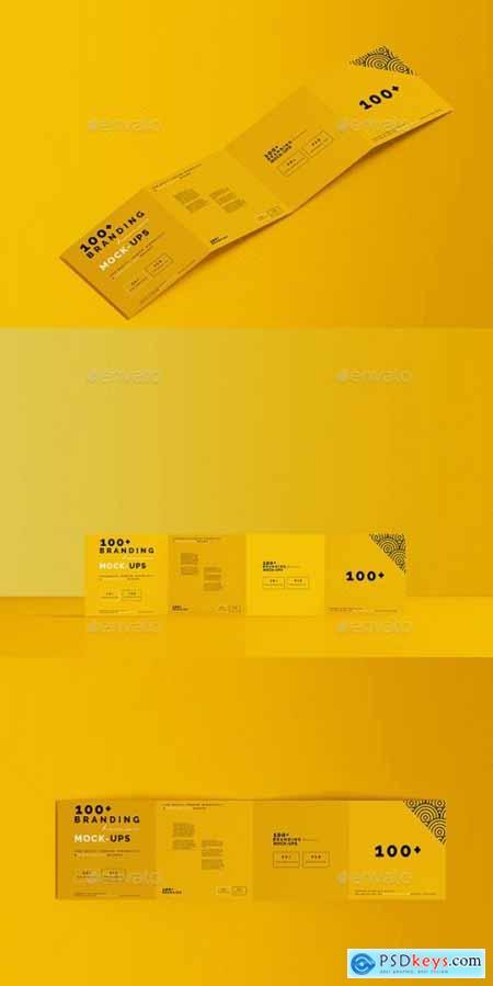 Square Four-Fold Brochure Mockup 29548054