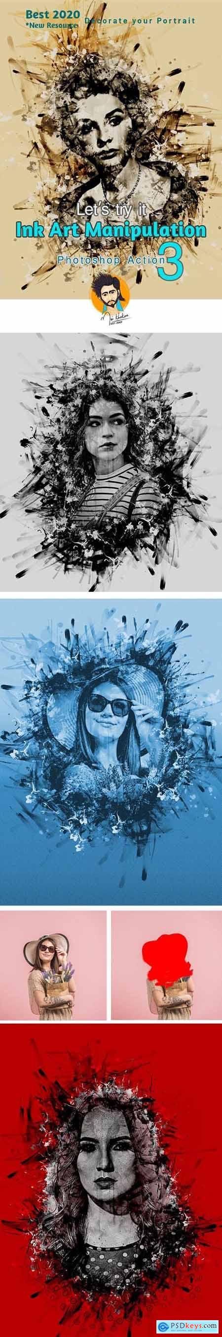 Ink Art Manipulation Photoshop Action 29099369