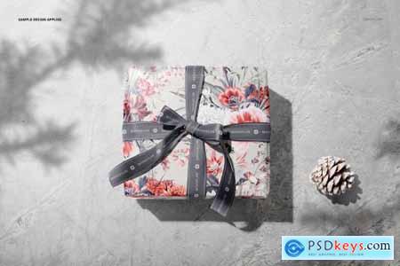 Gift Box Wrapping Paper Mockup Set 5672384