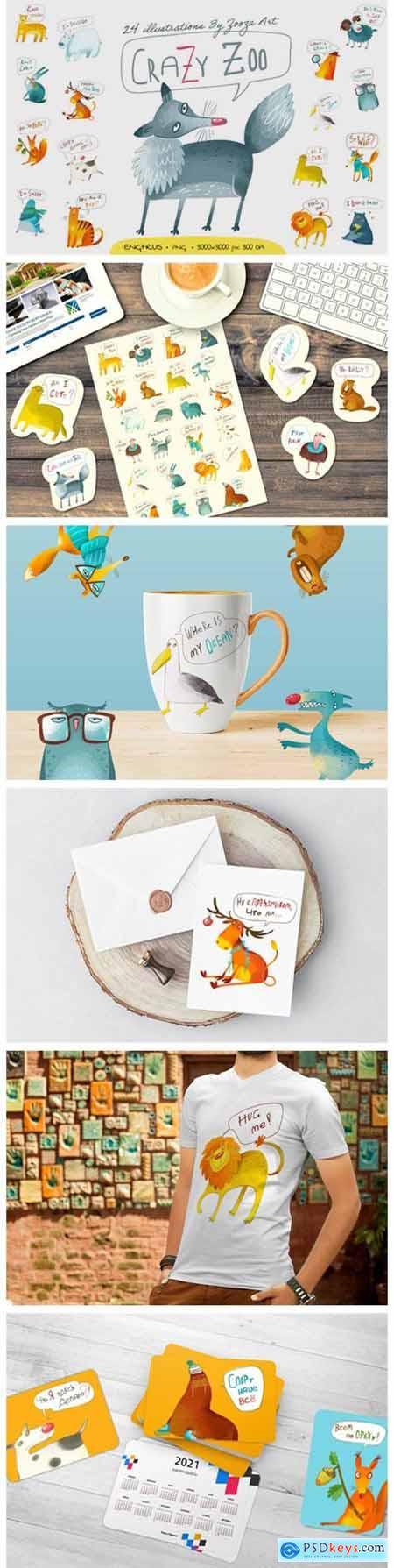Crazy Zoo - Animals Illustrations 6822939