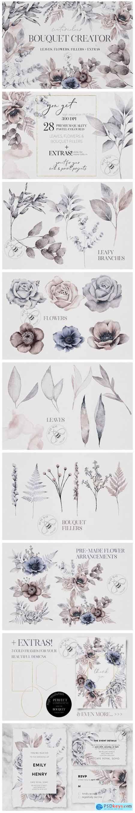 Watercolor Bouquet Creator Flower PNG 6984215