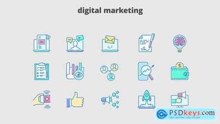 Digital Marketing - Filled Outline Animated Icons 29648116