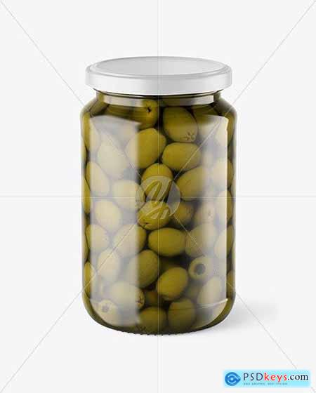 Clear Glass Jar with Olives Mockup 70502