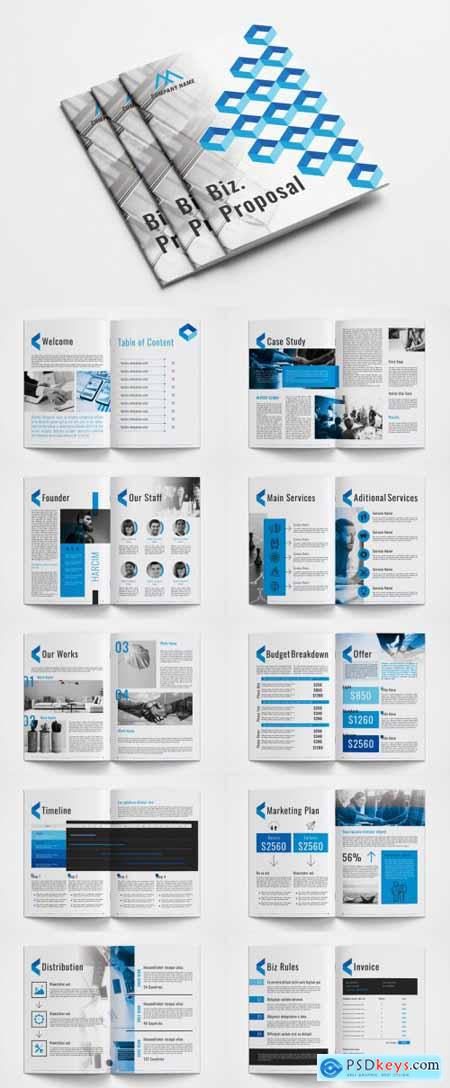 Business Proposal Layout with Blue Accents 392950323