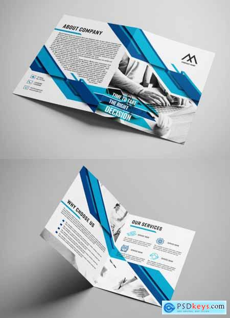 Business Bifold Brochure Layout with Blue Accents 392950473
