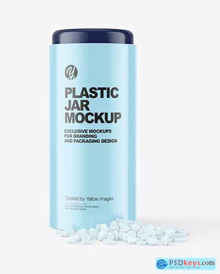 Glossy Plastic Jar with Pills Mockup 70543
