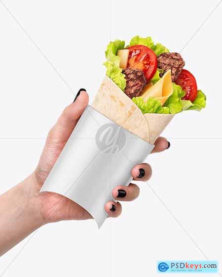 Hand w- Beef Wrap Mockup 70545