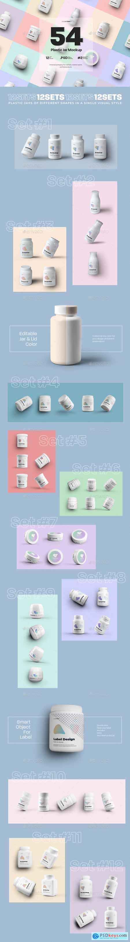 54 Mockups of Plastic Jars ( 12 different sets ) 29576114