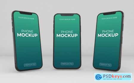 Realistic 12 phone mockup