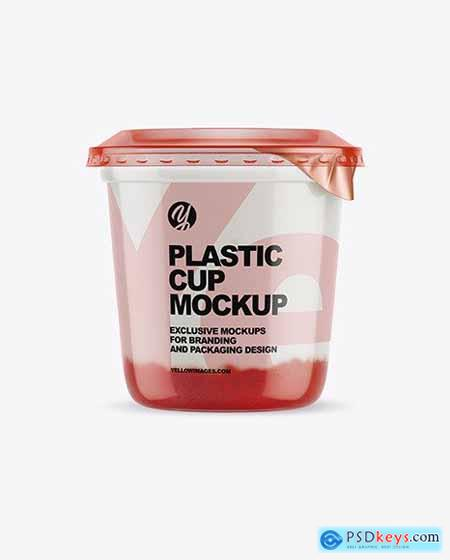 Plastic Cup with Yogurt and Strawberry Jam Mockup 70466