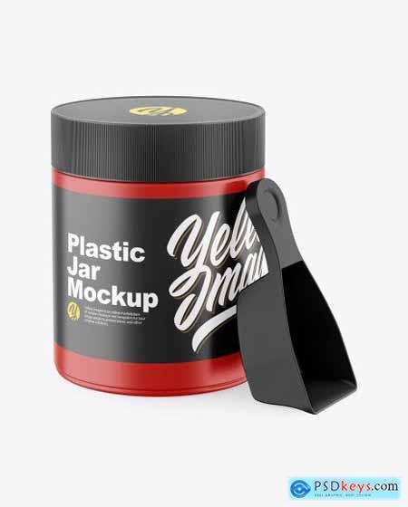 Matte Plastic Jar w- Spoon Mockup 70516