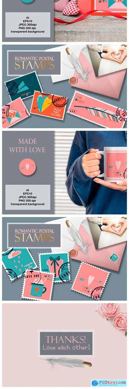 Postage Stamps Romantic for Valentines 6861161