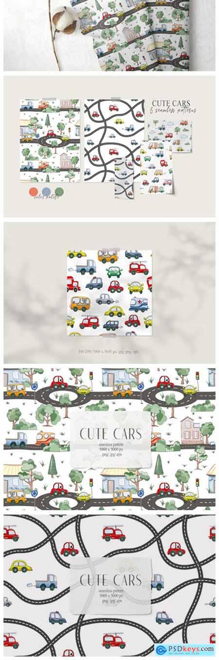 Watercolor Funny Cars Seamless Patterns 6794106