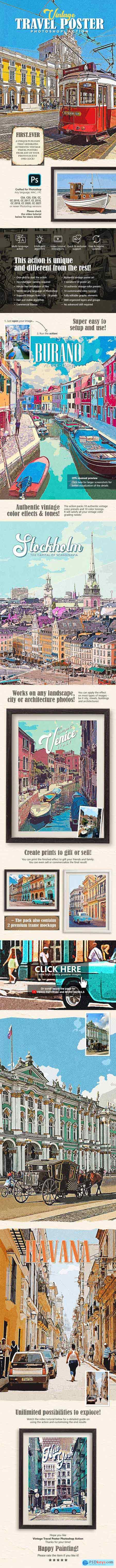 Vintage Travel Poster Photoshop Action 29146736