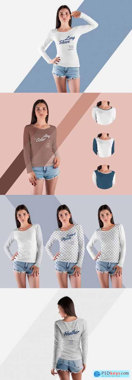 4 Long Sleeve T-Shirt Mockups 398086503