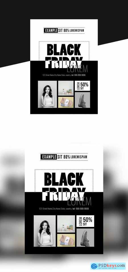 Black Friday Black and White Flyer 396882712