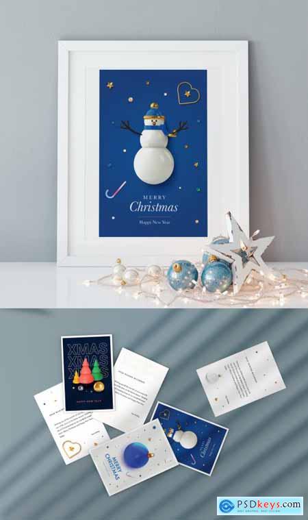 Christmas Greeting Postcard Layout 396890779