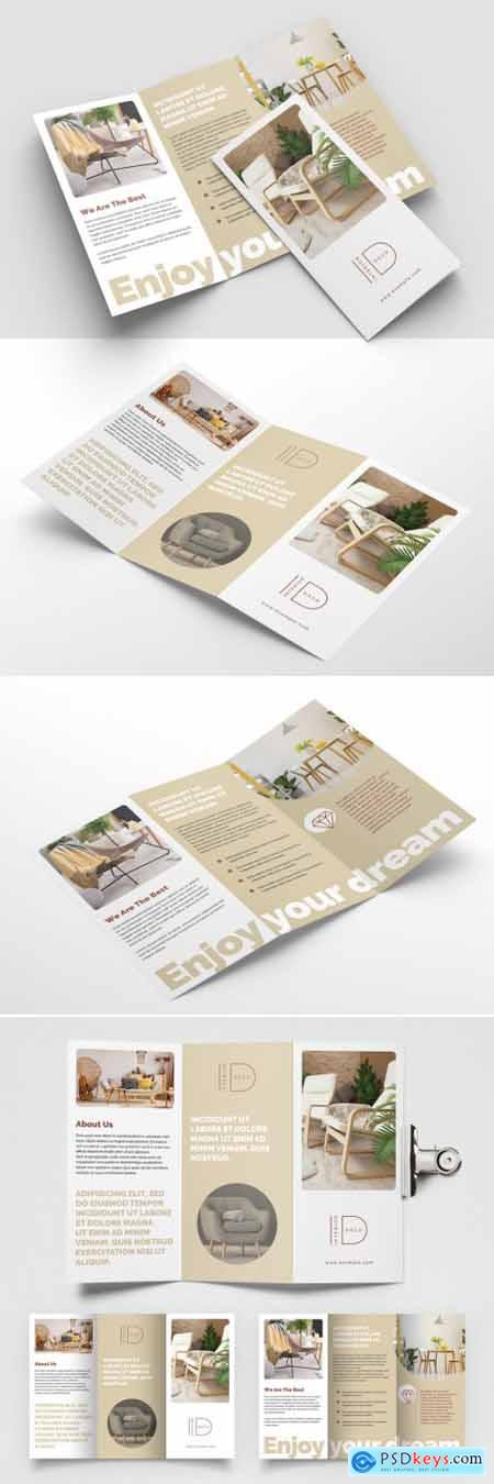 Interior Trifold Brochure Layout with Beige Accents 393394377
