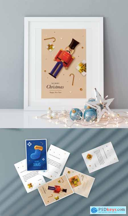 Christmas Greeting Postcard Layout 396890798