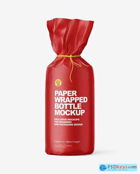 Matte Paper Bottle Wrapping With Rope Mockup 70639