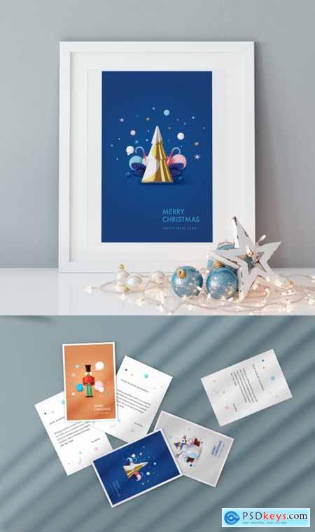 Christmas Greeting Postcard Layout 396890827