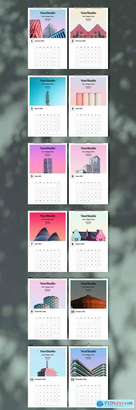 Architecture Wall Calendar 2021 Layout 397072753
