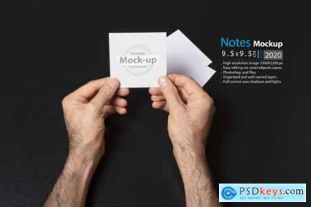 Hand holding blank, box notes mockup