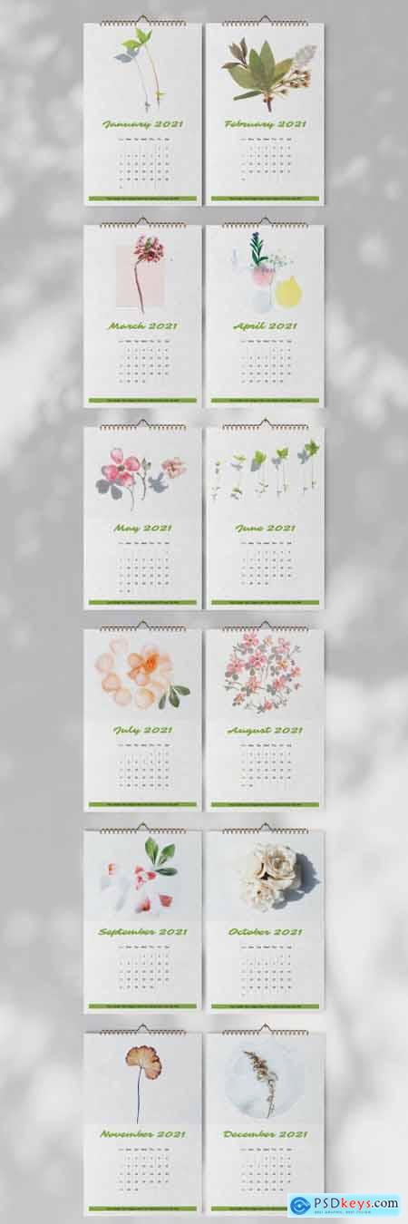 Botanical Wall Calendar 2021 Layout 397072814