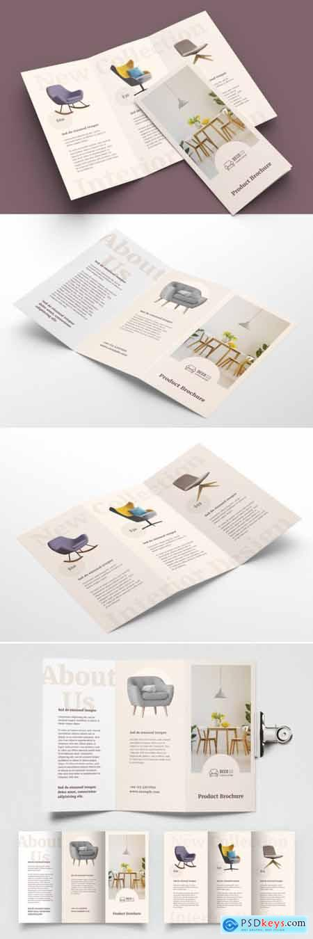 Product Trifold Brochure Layout with Pale Beige Accents 393394401