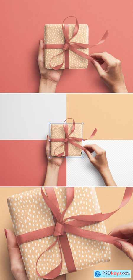 Mockup of Hands Holding Gift Box with Ribbon 393160236