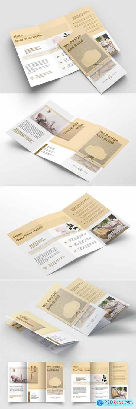Interior Trifold Brochure Layout with Golden Accents 393394346