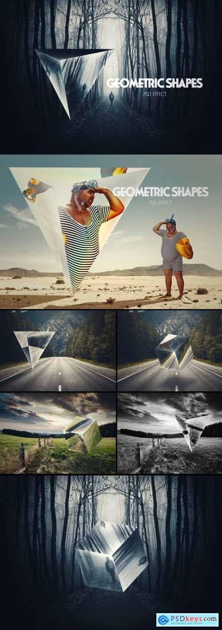 Geometric Mirror Photo Effect Mockup 396398744