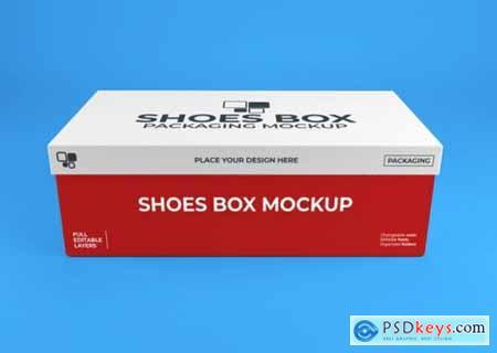 Realistic shoes box packaging mockup
