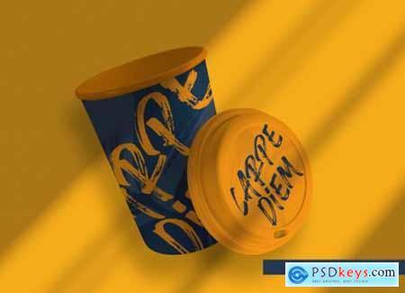 Floating coffee packaging mockup