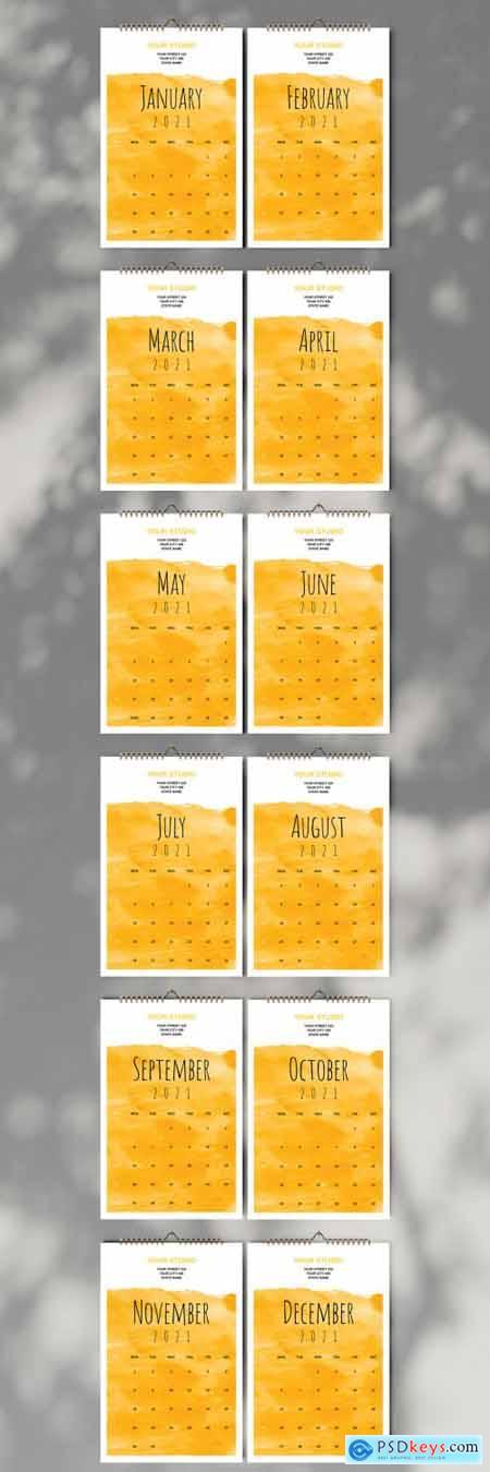 Yellow Wall Calendar 2021 Layout 397072799