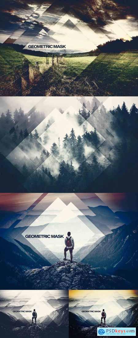 Geometric Square Shape Photo Effect Mockup 396398912