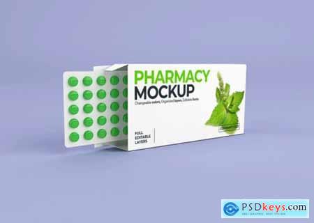 Medication box branding and packaging mockup