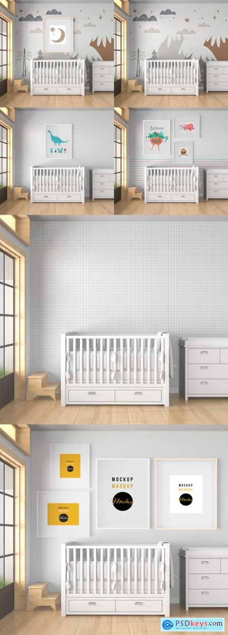 Baby Room with Mural Wall and Frames Mockup 396411414