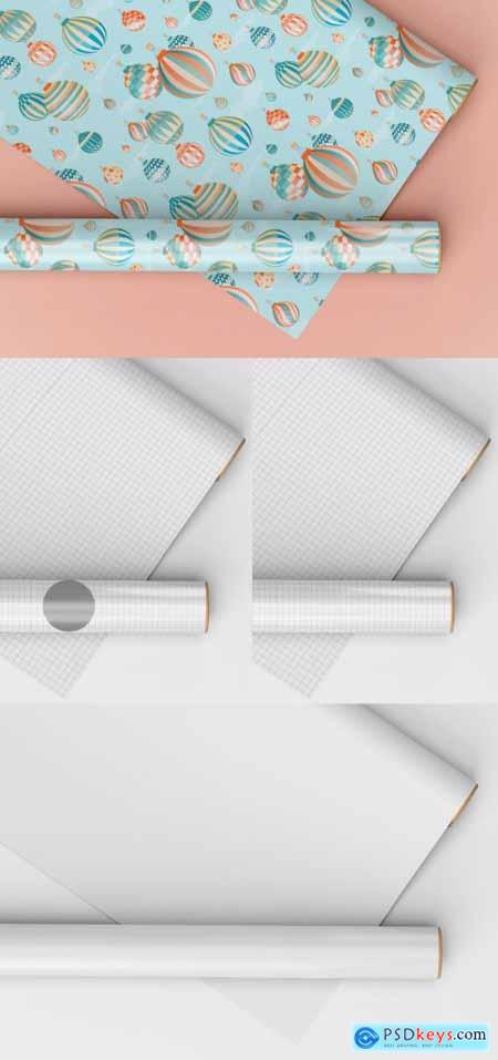 Gift Wrapping Paper Mockup, One Rolled and the Other Stretched 398328530