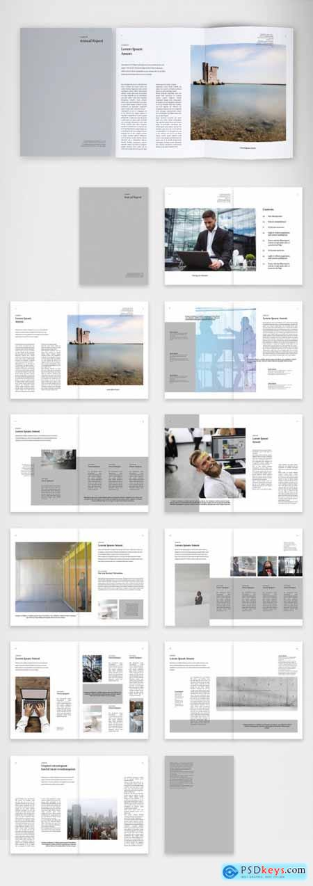 Elegant and Clean Annual Report with Silver Accents 398123317