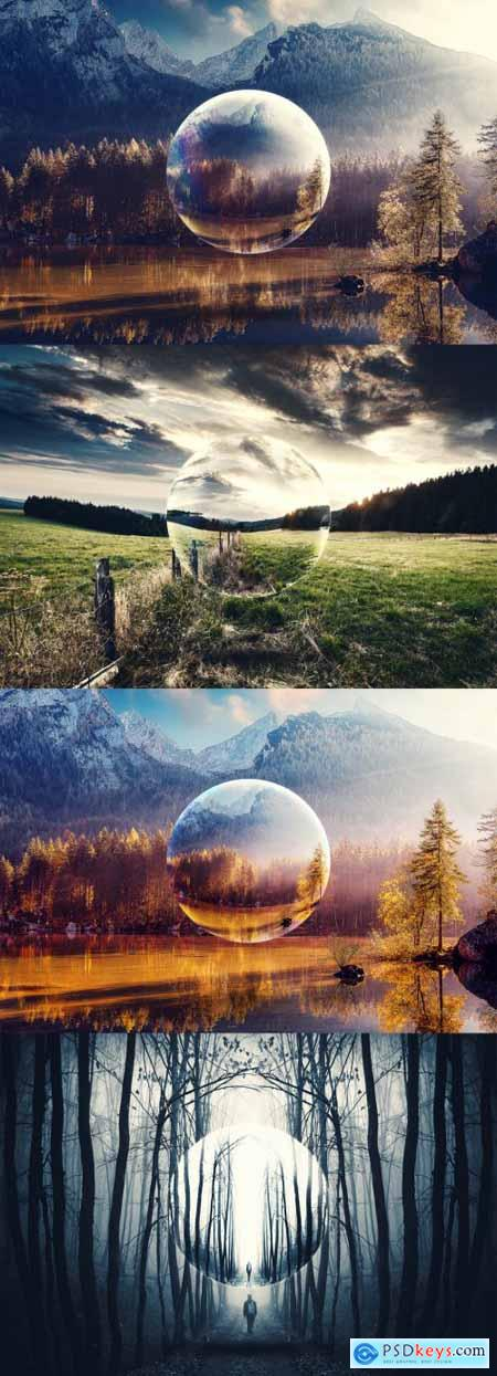 Mirror Sphere Photo Effect Mockup 396398857