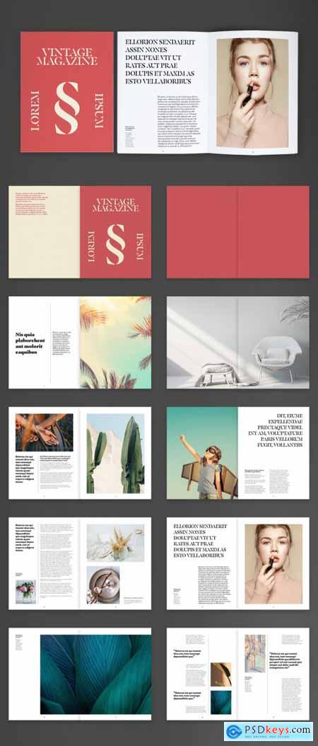 Vintage Brochure Layout with Red Accents 395376499