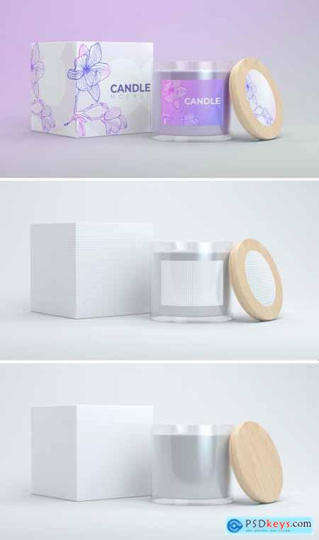 Isolated Customizable Candle with Cap and Box Mockup 398328348