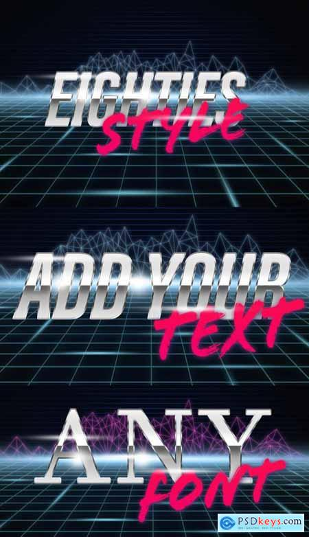 Eighties Cyberpunk Text and Poster Style Mockup 398310495