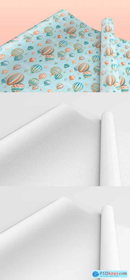 Gift Wrapping Paper Mockup, One Rolled and the Other Stretched 398328917